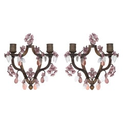 Petite French Bronze And Crystal Sconces