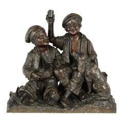 Petite French Bronze Statue Figurine, 19th Century