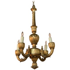 Petite French Carved and Giltwood 4-Light Chandelier