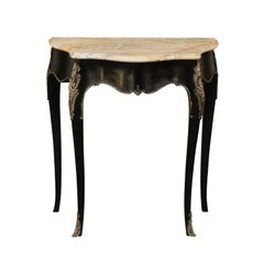 Petite French Louis XV Style Ebonized Table with Marble Top and Bronze Mounts