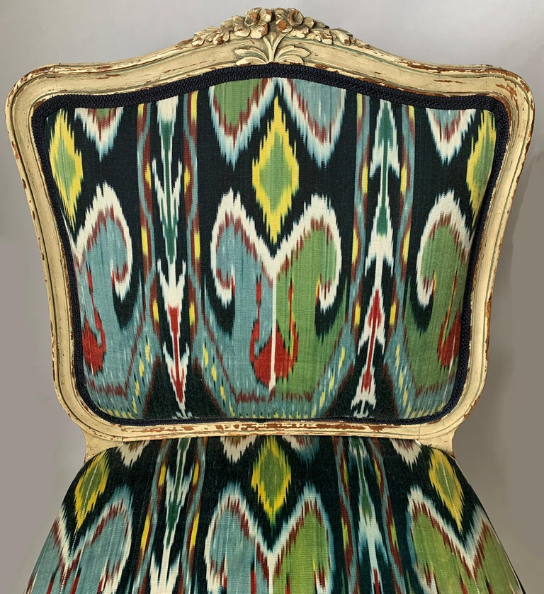 Painted Petite French Louis XV Style Slipper Chair For Sale