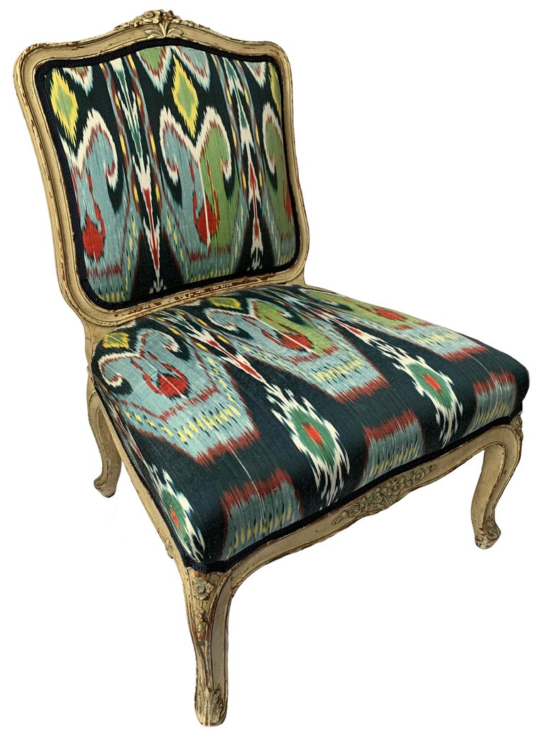 Petite French Louis XV Style Slipper Chair In Good Condition For Sale In Stamford, CT