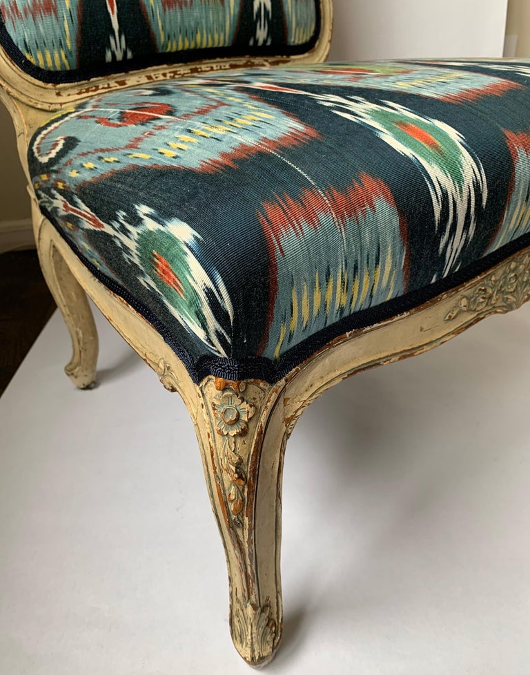 Upholstery Petite French Louis XV Style Slipper Chair For Sale