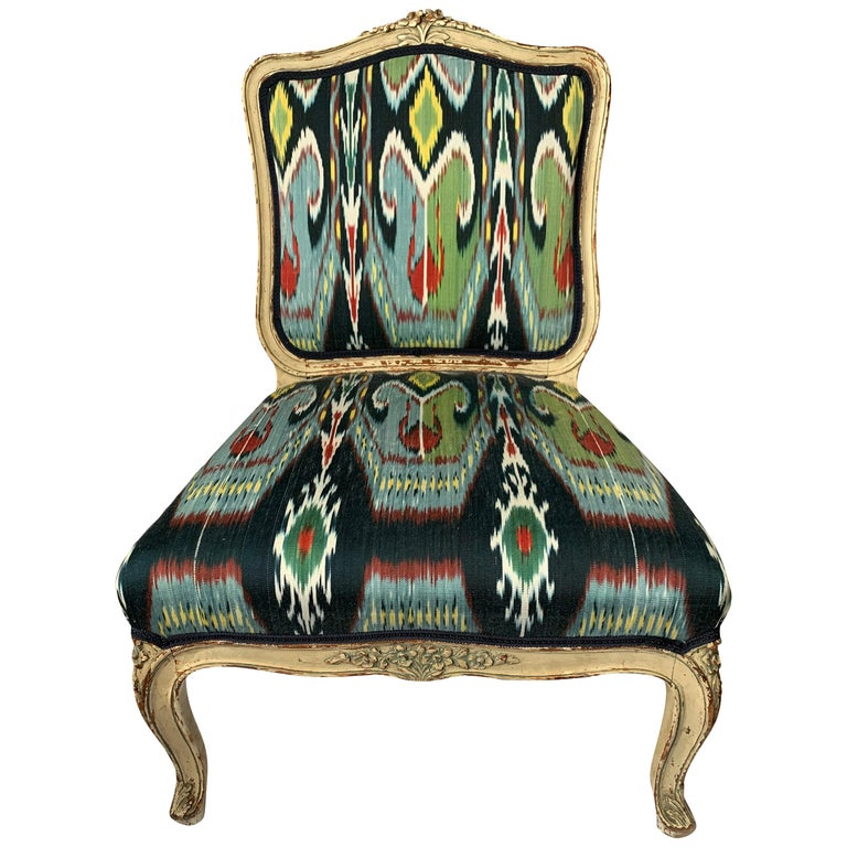 Petite French Louis XV Style Slipper Chair For Sale