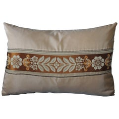 Petite French Peach Silk Ribbon Lumbar Decorative Pillow
