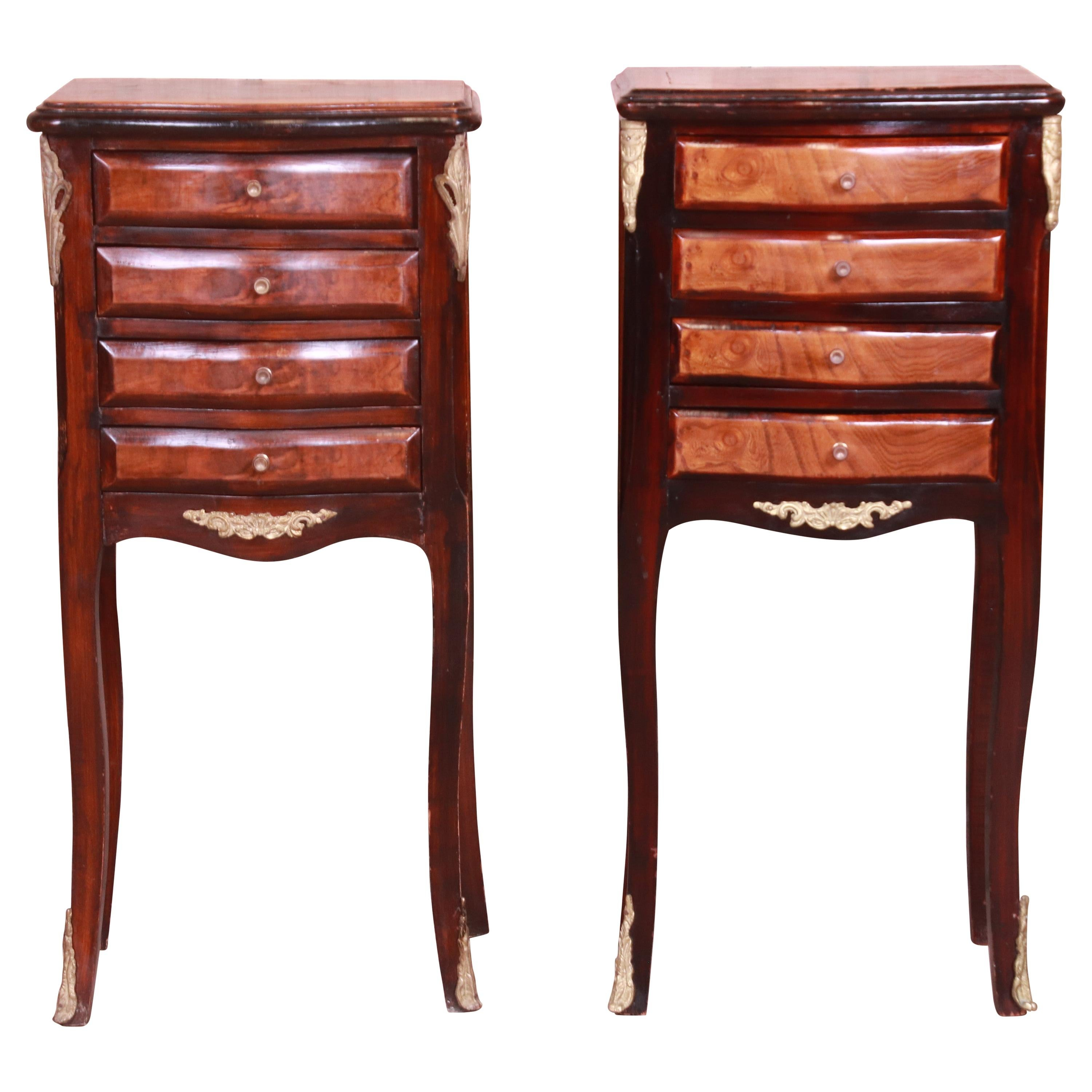 Petite French Provincial Louis XV Mahogany and Burl Wood Nightstands, Pair