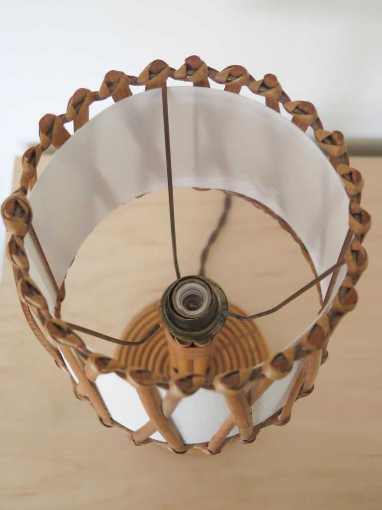 Petite French Rattan Lamp For Sale 3
