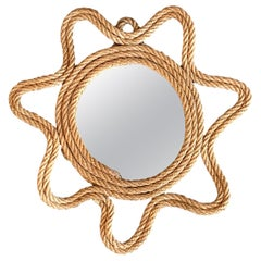 Petite French Rope Mirror in the Style of Audoux and Minet