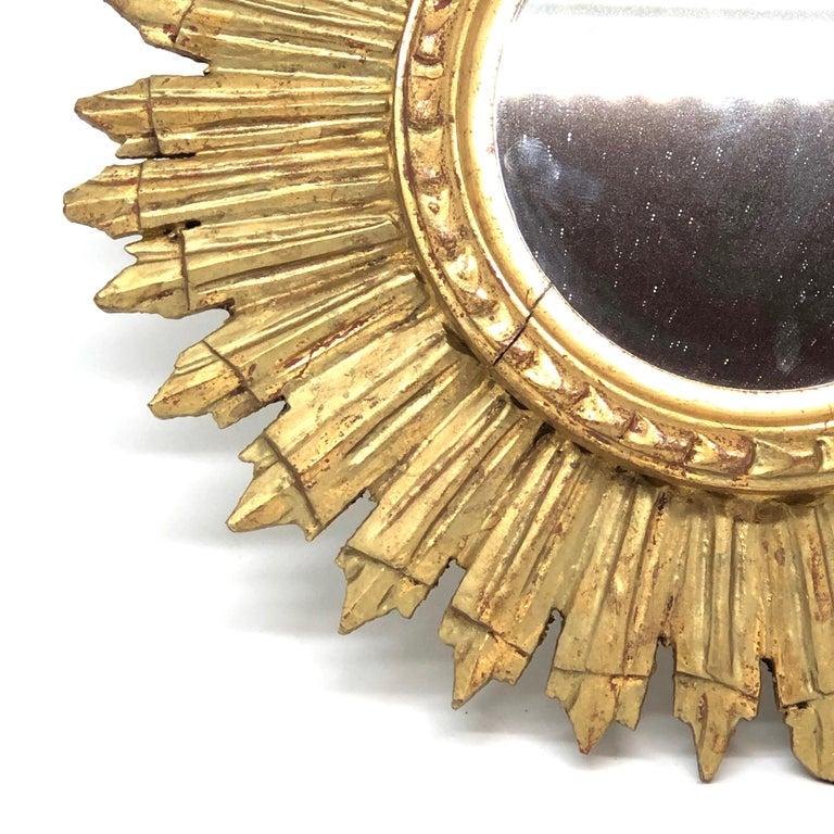 Hollywood Regency Petite French Starburst Sunburst Gilded Wood Mirror, circa 1930s For Sale