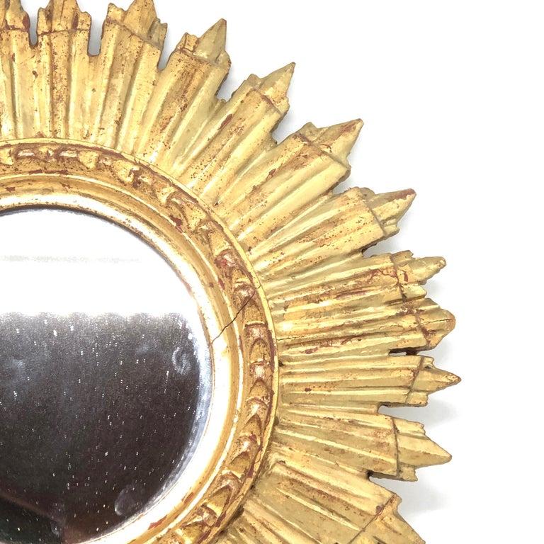 Mid-20th Century Petite French Starburst Sunburst Gilded Wood Mirror, circa 1930s For Sale