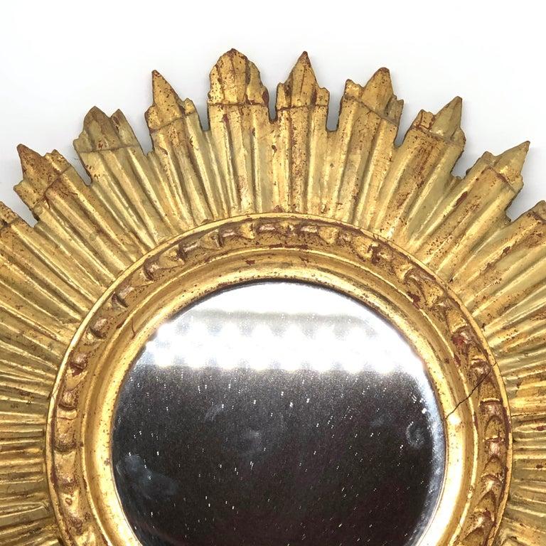 Petite French Starburst Sunburst Gilded Wood Mirror, circa 1930s For Sale 1