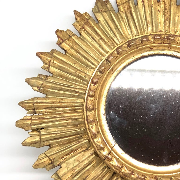 Petite French Starburst Sunburst Gilded Wood Mirror, circa 1930s For Sale 2