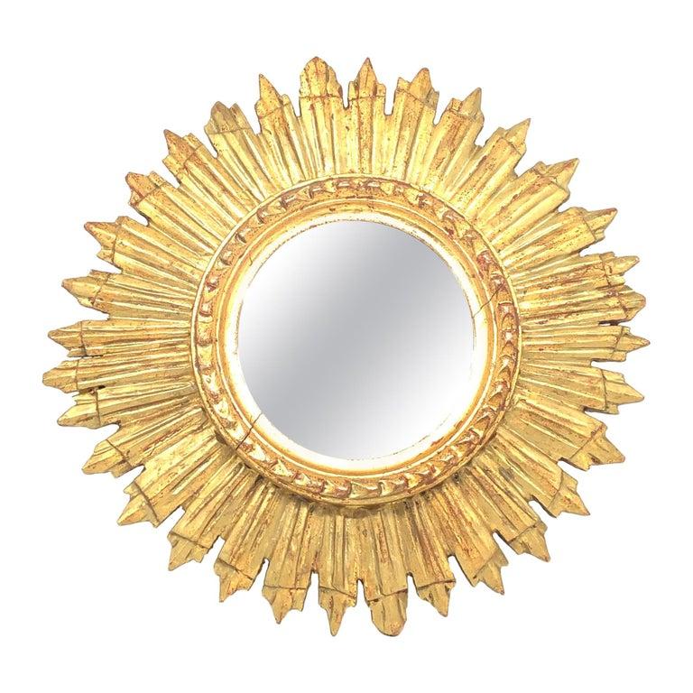 Petite French Starburst Sunburst Gilded Wood Mirror, circa 1930s For Sale
