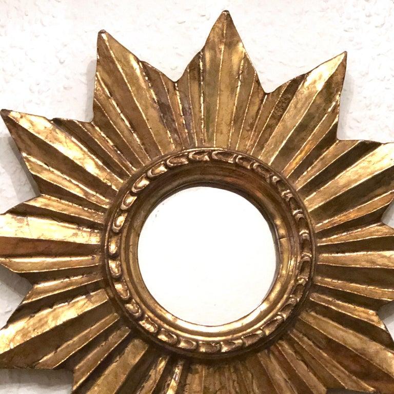 Giltwood Petite French Starburst Sunburst Gilded Wood Mirror, circa 1950s For Sale