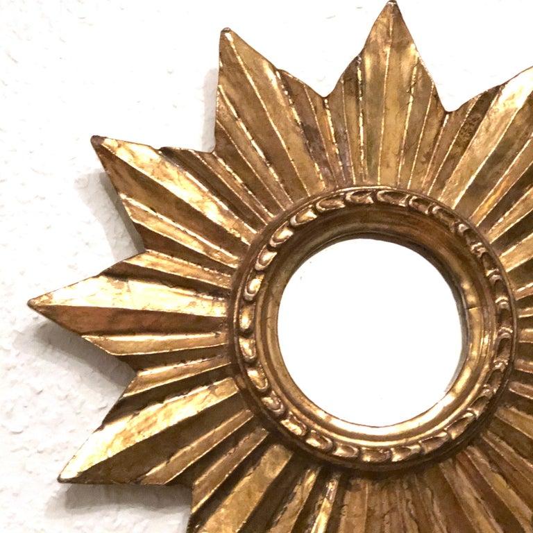 Petite French Starburst Sunburst Gilded Wood Mirror, circa 1950s For Sale 1