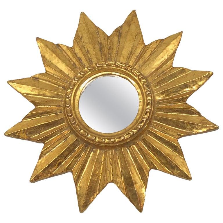 Petite French Starburst Sunburst Gilded Wood Mirror, circa 1950s For Sale