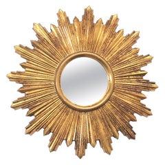 Petite French Starburst Sunburst Gilded Wood Mirror, circa 1970s