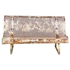 Petite French White Metal Perforated Bench
