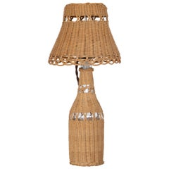 Petite French Wicker Table Lamp