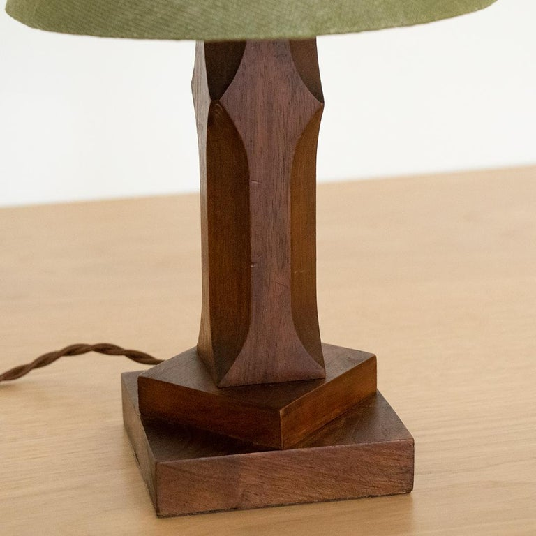 Linen Petite French Wood Lamp For Sale