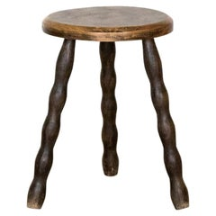 Petite French Wood Stool with Wavy Legs