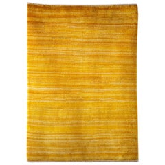 Petite Gold Contemporary Gabbeh Persian Wool Rug