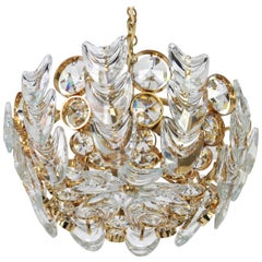 Petite Gilt Brass and Crystal Glass Encrusted Chandelier by Palwa, Germany 1970s