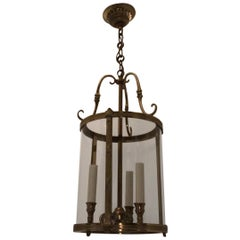 Petite Gilt Bronze Readed X-Pattern Curved Glass Lanterns Fixtures Set 4 Four