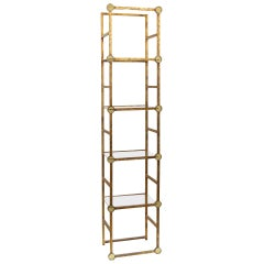 Petite Gilt Metal Etagere With Amber Glass Medallians
