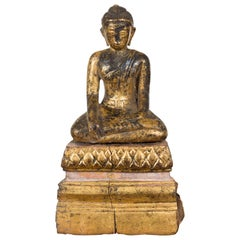 Petite Giltwood Thai Ayutthaya Period Buddha Sculpture with Bhumisparsha Mudra