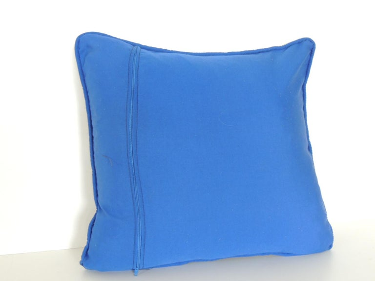 Asian Petite Greek Isle Style Blue and Natural Embroidered Decorative Pillow For Sale