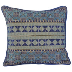 Petite Greek Isle Style Blue and Natural Embroidered Decorative Pillow
