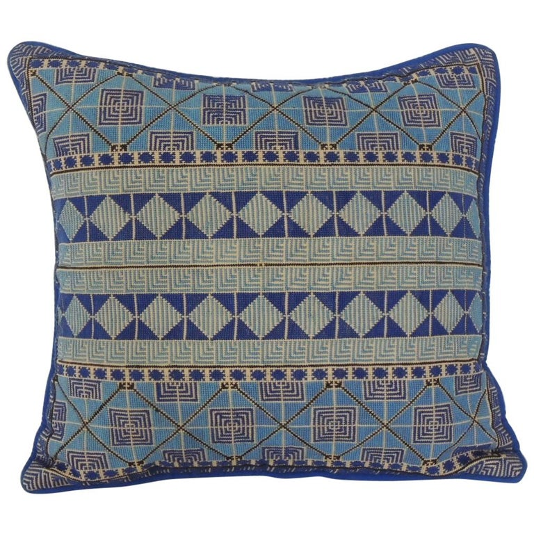 Petite Greek Isle Style Blue and Natural Embroidered Decorative Pillow For Sale