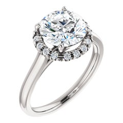 Petite Halo Diamond Accented Plain Shank Round GIA Certified Engagement Ring