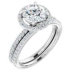 Petite Halo GIA Round Brilliant Diamond Engagement Ring 14 Karat Gold 1.06 Carat