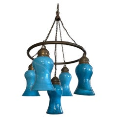 Petite Hand Blown Glass Egyptian Chandelier