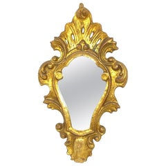 Petite Hollywood Regency Gilded Tole Toleware Mirror Vintage, Italy, 1920s