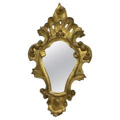 Petite Hollywood Regency Gilded Tole Toleware Vanity Mirror Vintage, Italy 1950s