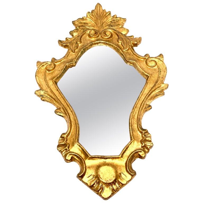 Petite Hollywood Regency Gilded Tole Toleware Vanity Mirror Vintage, Italy 1960s For Sale