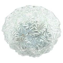 Petite Ice Crystal Pattern Glass Flush Mount Ceiling Light, Honsel Germany 1960s