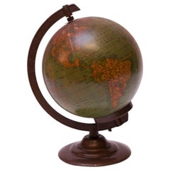 Petite Illuminated Glass Globe by George F. Cram Co.