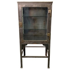 Petite Industrial Brushed Steel Apothecary Cabinet Display Case
