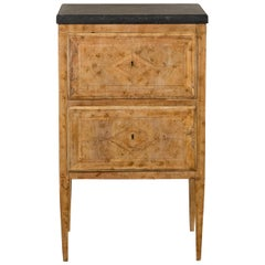 Petite Italian 1800s Neoclassical Period Bleached Burl Wood and Marble Commode