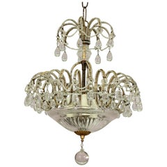 Petite Italian Crystal Beaded Chandelier