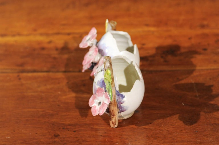 Ceramic Petite Italian Glazed and Hand Painted 19th Century Two-Pots Floral Majolica For Sale