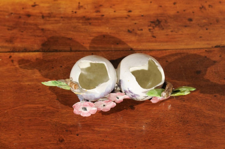 Petite Italian Glazed and Hand Painted 19th Century Two-Pots Floral Majolica For Sale 1