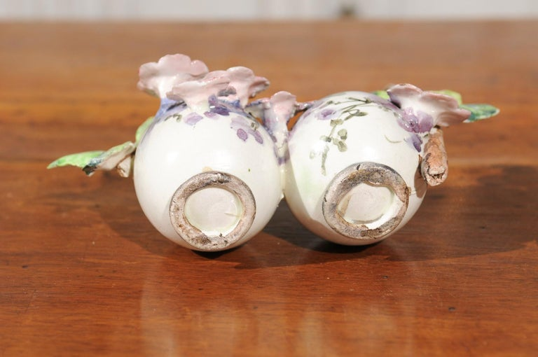 Petite Italian Glazed and Hand Painted 19th Century Two-Pots Floral Majolica For Sale 2