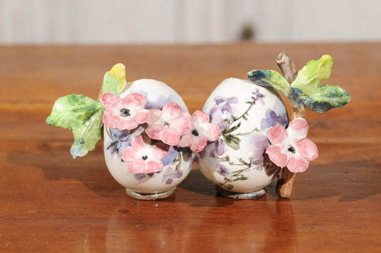 Petite Italian Glazed and Hand Painted 19th Century Two-Pots Floral Majolica For Sale 3