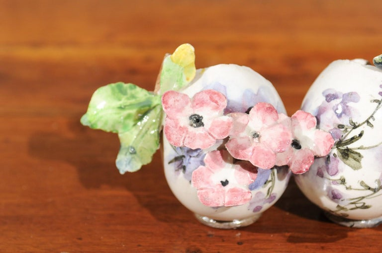 Petite Italian Glazed and Hand Painted 19th Century Two-Pots Floral Majolica For Sale 5