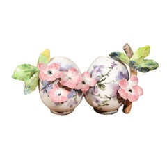 Petite Italian Glazed and Hand Painted 19th Century Two-Pots Floral Majolica